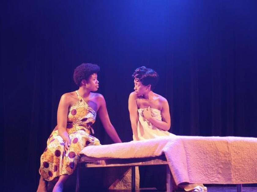 Joy Jones plays the 19th-century 'Hottentot Venus' and Cashae Monya is the 21st-century writer/professor in 'Voyeurs de Venus,' running Aug. 18-Sept. 9, 2018 at Moxie Theatre, 6663 El Cajon Blvd., Suite N, San Diego.