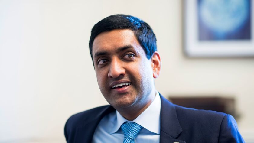 UNITED STATES - JUNE 29: Rep. Ro Khanna, D-Calif., speaks with Roll Call in his office on Thursday,
