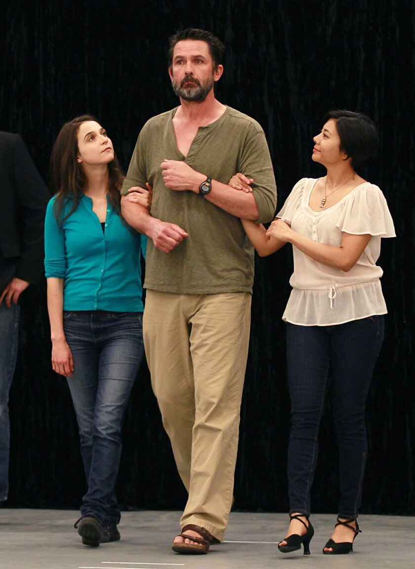 Billy Campbell (center) rehearses a scene with Maya Kazan (left) and Angel Desai.