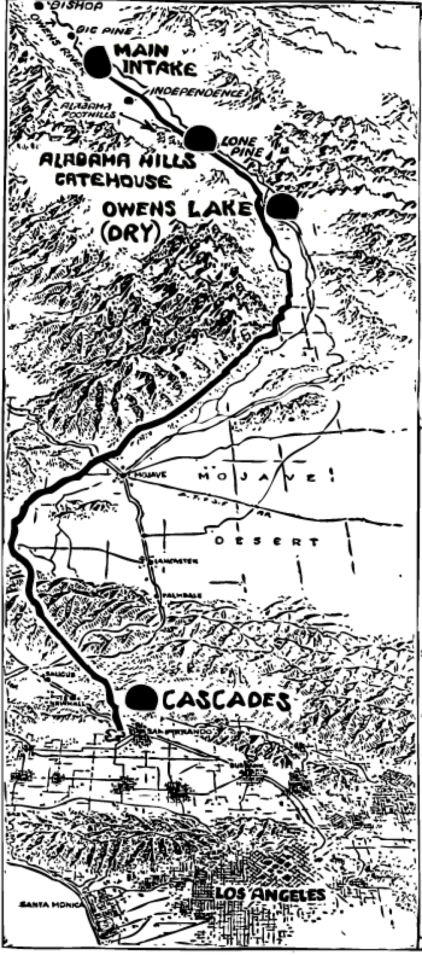 A historic map shows the path of water from the Owens Valley to Los Angeles.