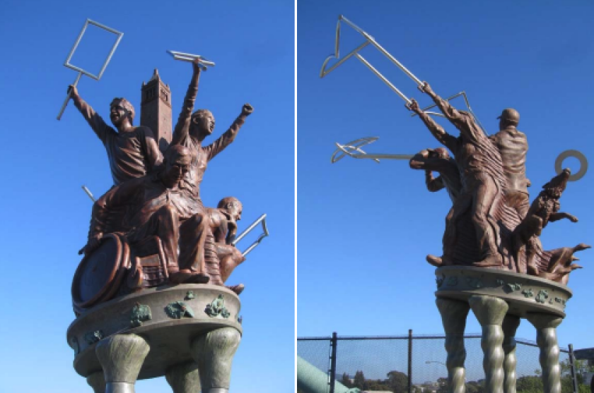 A two-piece sculpture that sits on opposite sides of a pedestrian bridge in Berkeley may be removed.