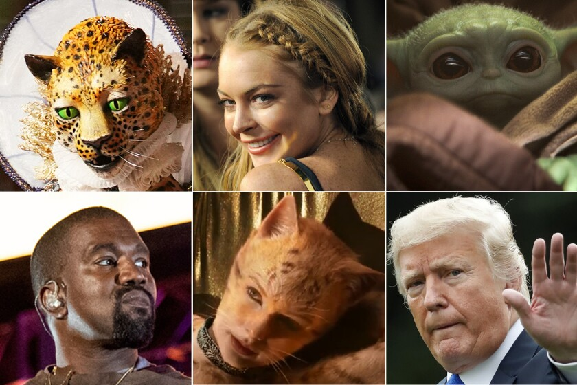 "Clockwise, top left: "" Masked Singer,"" Lindsay Lohan, Baby Yoda, Trump, Taylor Swift, Kanye West"