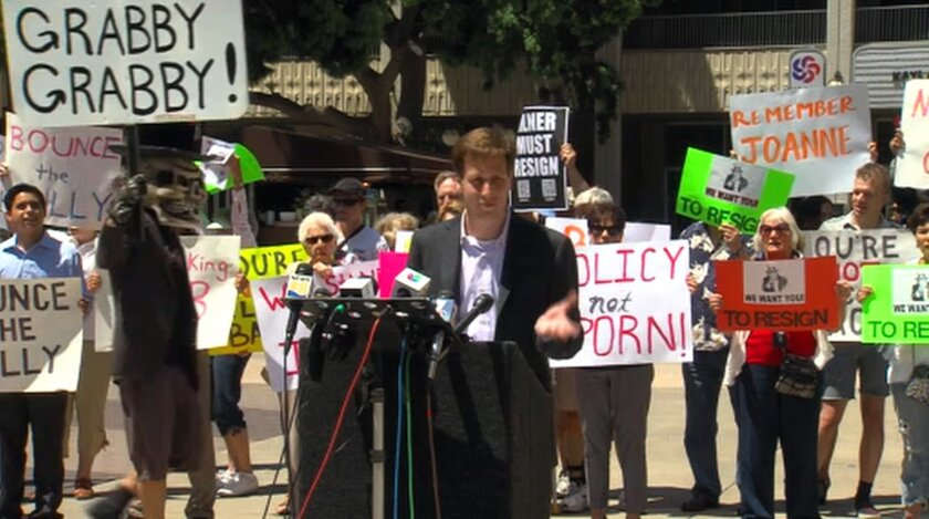 """Filner Not Welcome Back"" rally took place on Monday in the Civic Center Plaza, Ben Katz was one of the speakers."