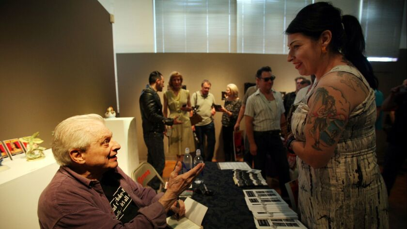 LOS ANGELES, CA JULY 13, 2013: Writer Harlan Ellson, speaks with his fans at La Luz de Jesus Gallery