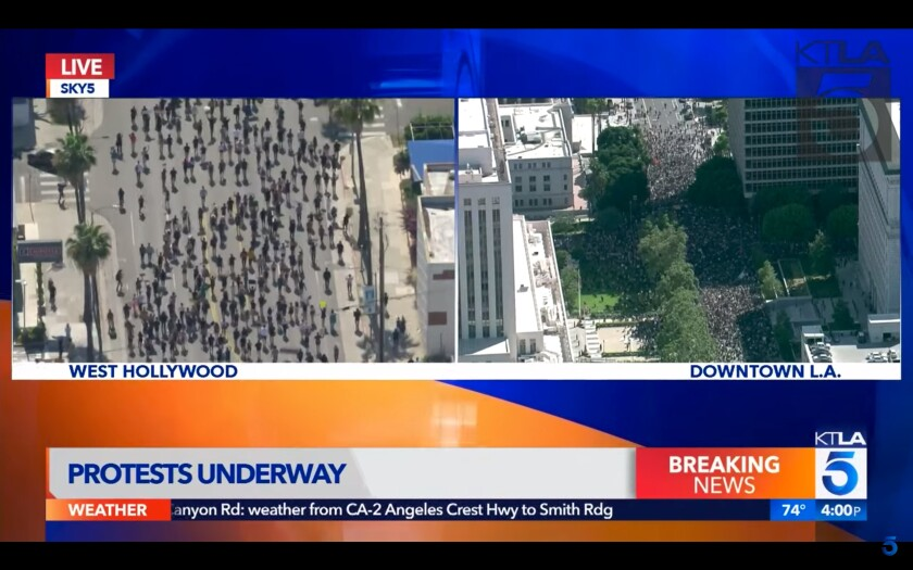 A screenshot of KTLA5's helicopter footage of a West Hollywood march protesting the killing of George Floyd on Wednesday.