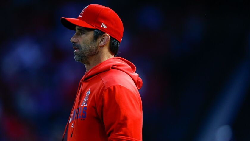 ANAHEIM, CALIF. - APRIL 04: Los Angeles Angels manager Brad Ausmus (12) during a game at Angel Stadi