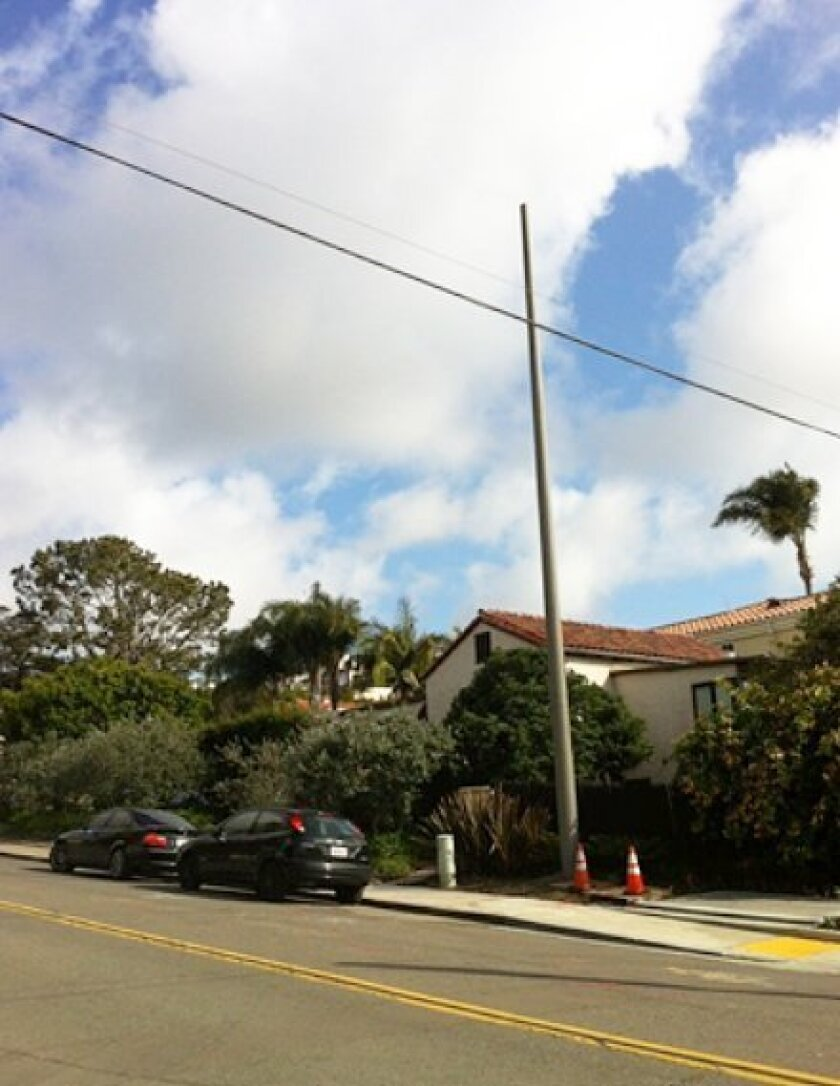 Residents on Exchange Place were not happy the city allowed SDG&E to install this SCADA (supervisory control and data acquisition) wireless communications tower last month with no notice. Courtesy