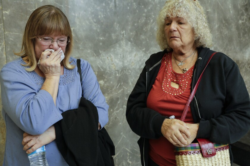 Natalie Volkoff's mother, Linda Kornoff, left, and mother-in-law, Michaelyn Volkoff, outside Superior Court, where Jacob Zamora and Corey Kiefer pleaded guilty to vehicular manslaughter for their involvement in the accident that killed Natalie Volkoff.
