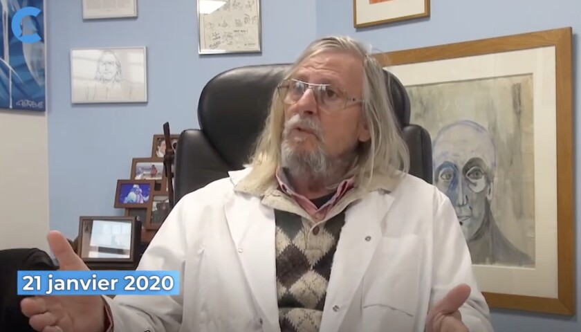 Didier Raoult, the French researcher whose claims for chloroquine treatment of COVID-19 reached the White House, in a video recorded at his Marseille institute on Jan. 21.