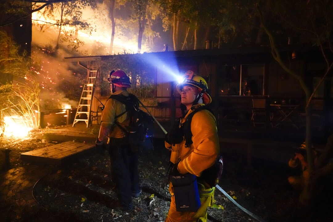 Firefighters in the Santa Cruz Mountains near Boulder Creek.
