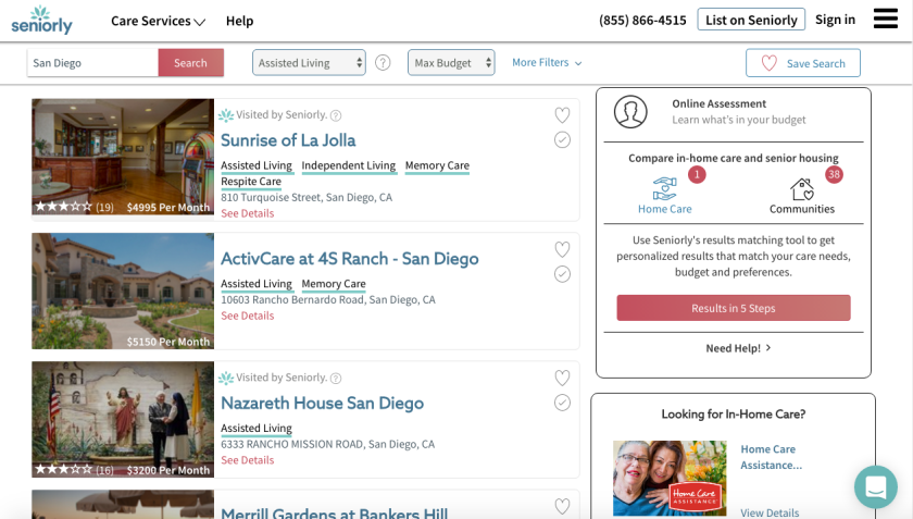 Users can search for senior housing based on needs or budget.