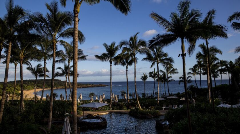 LANAI CITY, HI - APRIL 02: The central pool at the Four Seasons Resort on the Hawaiian island of Lan
