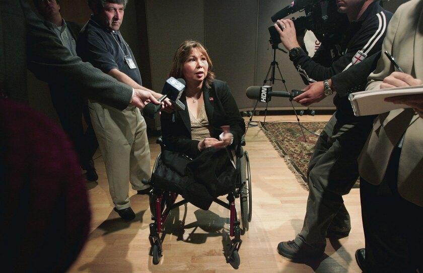 Rep. Tammy Duckworth (D-Illinois), seen in 2006, is a veteran who lost both legs and the use of one arm when her helicopter was downed in Iraq.