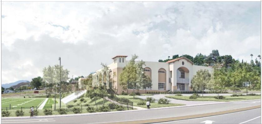 An artist's rendering of the Liberty Charter High School that might be built in Rancho San Diego.