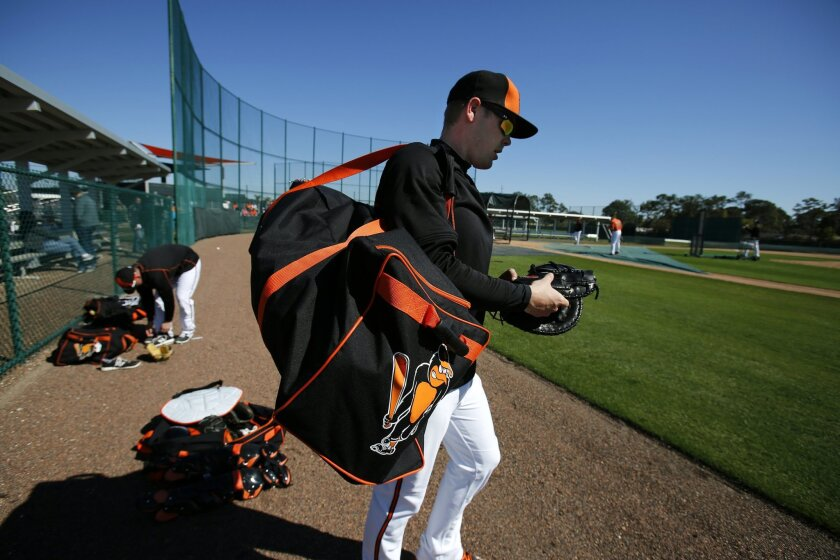 Baltimore Orioles catcher Matt Wieters head to the clubhouse after a spring training baseball workout for Orioles pitchers and catchers in Sarasota, Fla., Friday, Feb. 20, 2015. (AP Photo/Gene J. Puskar)