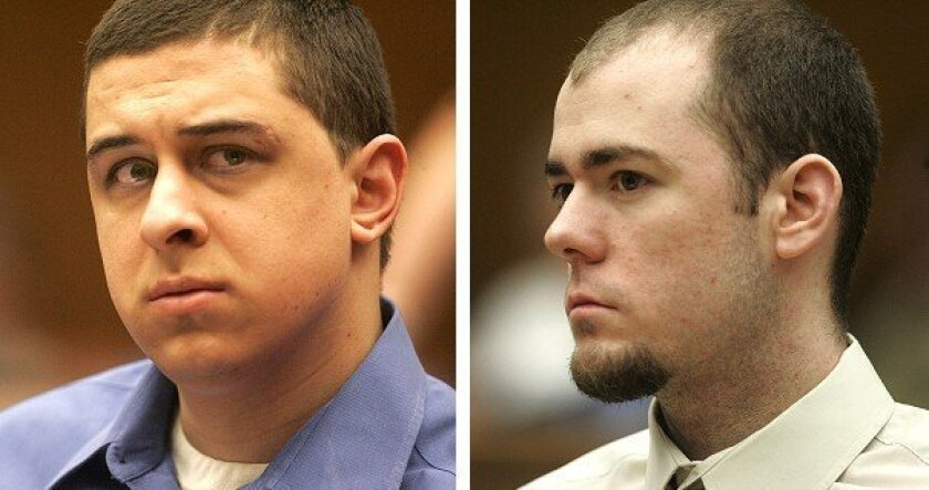 """A jury deadlocked on the sentence for Franko """"Dopes"""" Bernal (left), while another jury handed Samuel Thomas """"Tommy"""" McCauley Jr. a life sentence."""