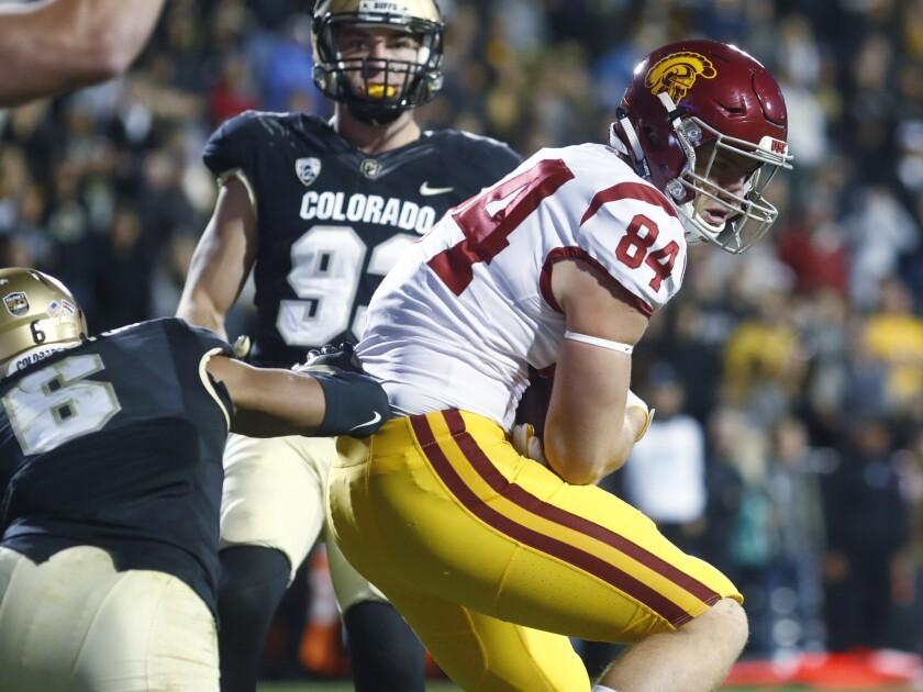 USC tight end Erik Krommenhoek in action against Colorado