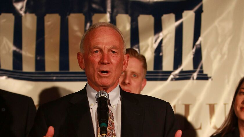 Mayor Jerry Sanders addresses Proposition B supporters on election night in June 2012.