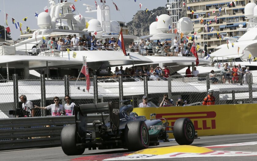 Mercedes driver Nico Rosberg of Germany steers his car during the third free practice at the Monaco racetrack in Monaco, Monaco, Saturday, May 28, 2016. The Formula one race will be held on Sunday. (AP Photo/Petr David Josek)