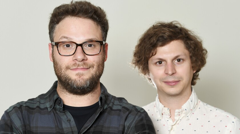 "Seth Rogen and Michael Cera star in R-rated animated comedy ""Sausage Party,"" in which they both play hot dogs."