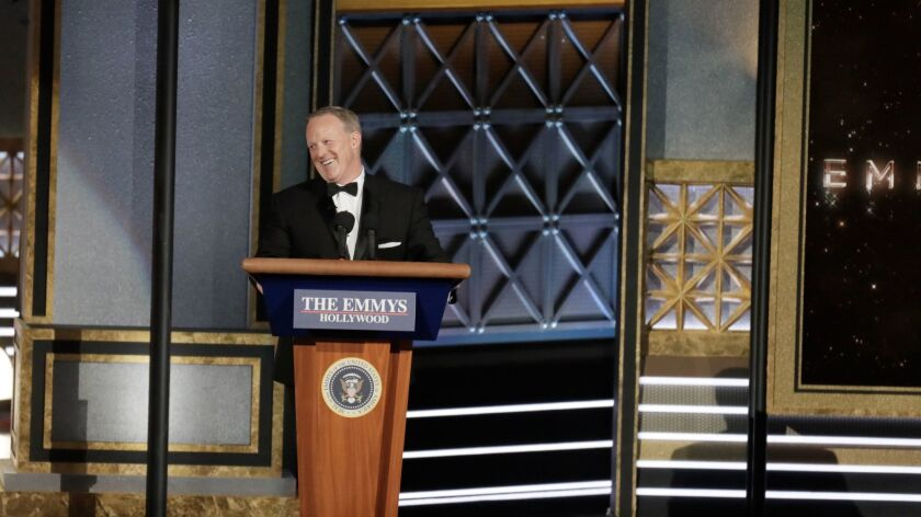 Former White House Press Secretary Sean Spicer's appearance at the Emmys drew a sharply divided reac