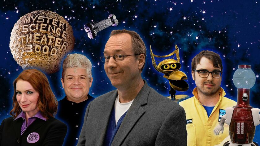 "New cast of ""Mystery Science Theater 3000, from left: Felicia Day, Patton Oswalt, Joel Hodgson, Crow T. Robot (voiced by Hampton Yount), Jonah Ray and Tom Servo (voiced by Baron Vaughn)."