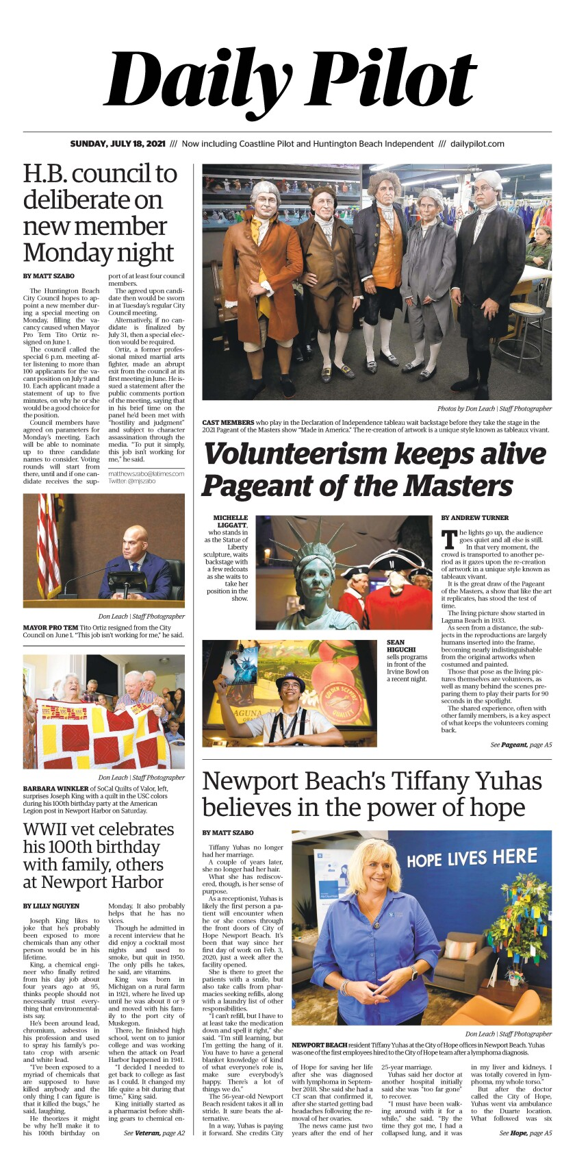 Front page of Daily Pilot e-newspaper for Sunday, July 18, 2021.