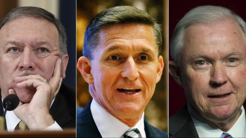 From left are Rep. Mike Pompeo (R-Kan.), President-elect Donald Trump's choice to run the CIA; retired Lt. Gen. Michael Flynn, his national security advisor; and Sen. Jeff Sessions (R-Ala.), Trump's choice for attorney general.