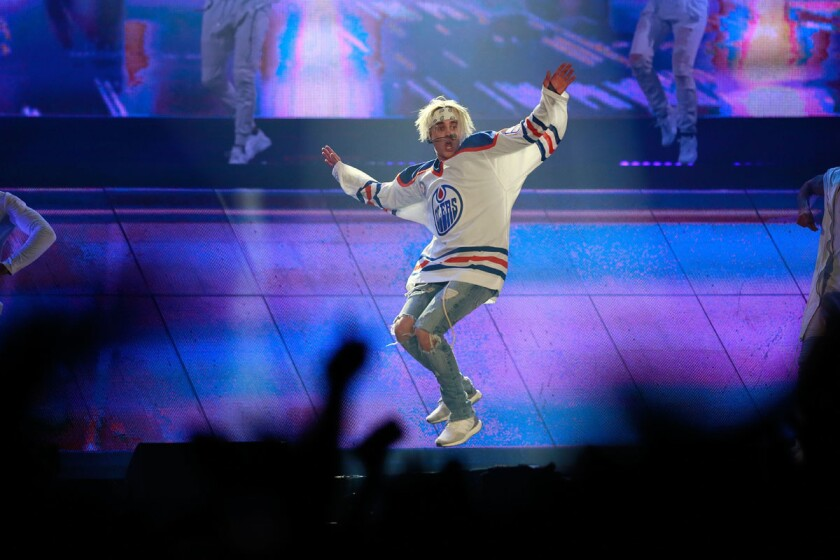 Canadian singer-songwriter Justin Bieber performs at the Valley View Casino Center Tuesday.