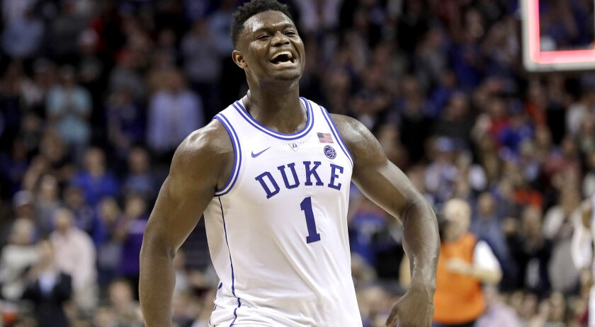 Duke's Zion Williamson (1) celebrates after Duke defeated Florida State in the NCAA college basketba