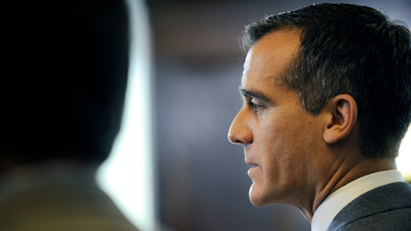Mayor Eric Garcetti releases at Los Angeles City Hall on April 20, 2015.