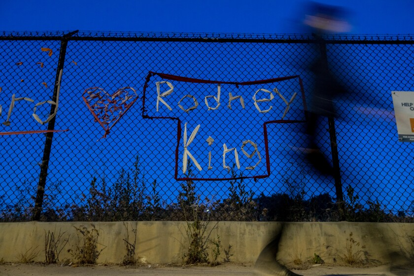 The name of Rodney King at the installation pays tribute to the man beaten by LAPD officers in 1991