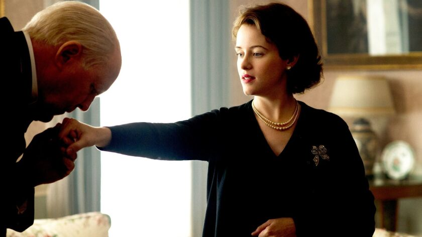 """John Lithgow and Claire Foy in """"The Crown."""""""