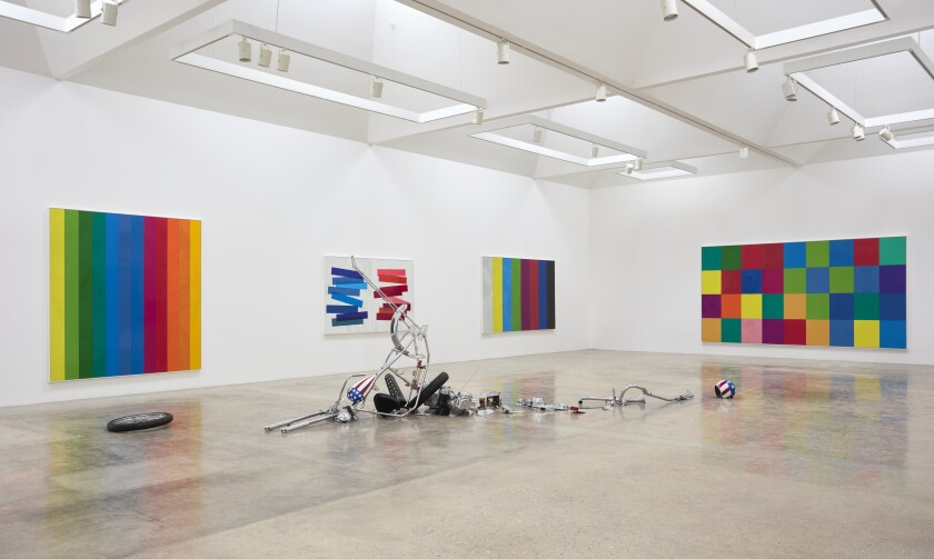 "An installation view of Hank Willis Thomas's ""An All Colored Cast"" at Kayne Griffin Corcoran"