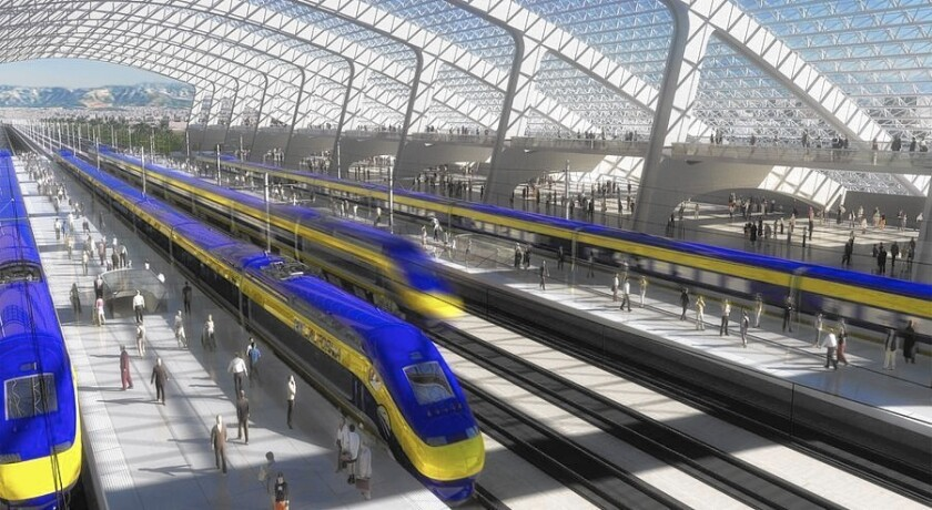 An artist's rendering depicts a high-speed rail station.