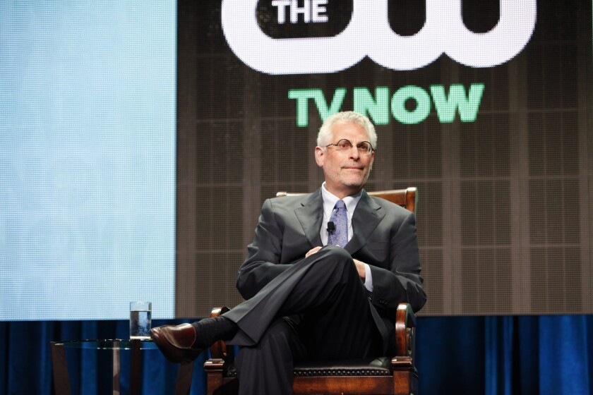 Mark Pedowitz, president of the CW, presents the network's offerings at the Television Critics Assn. press tour in Beverly Hills.
