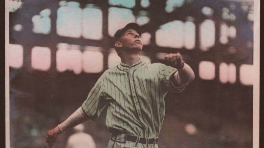 Babe Herman with the Dodgers in a hand-tinted photo from 1928.