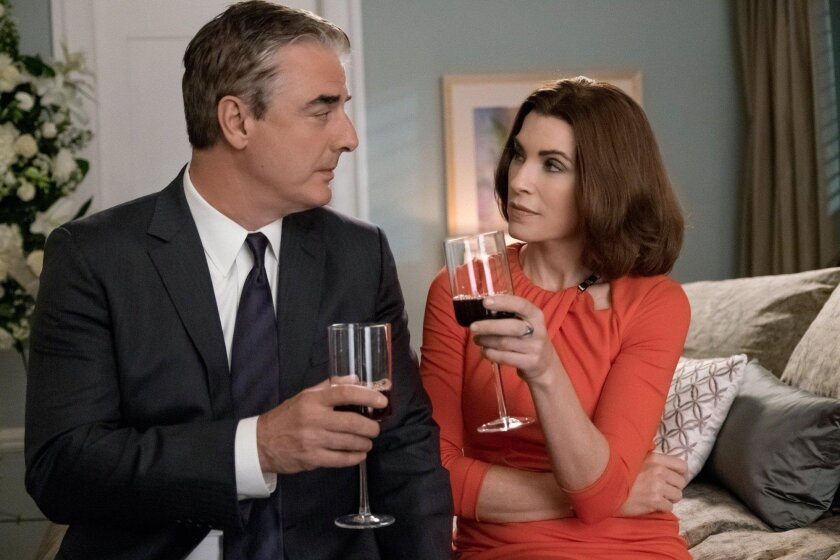 "In this image released by CBS, Chris Noth portrays Peter Florrick, left, and Julianna Margulies portrays Alicia Florrick in a scene from ""The Good Wife."" After seven seasons, CBS will air the series finale on Sunday."