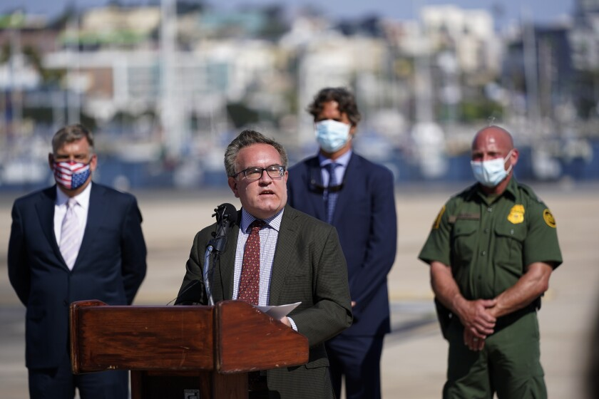 Environmental Protection Agency Administrator Andrew Wheeler speaks at a new conference.