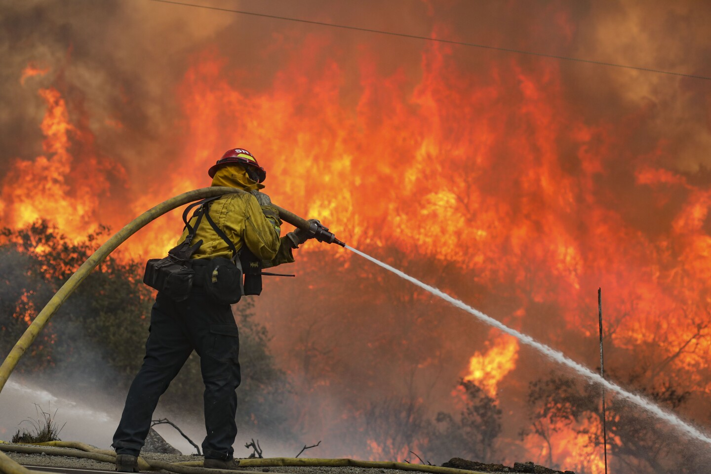 San Miguel County Firefighters battle a brush fire.