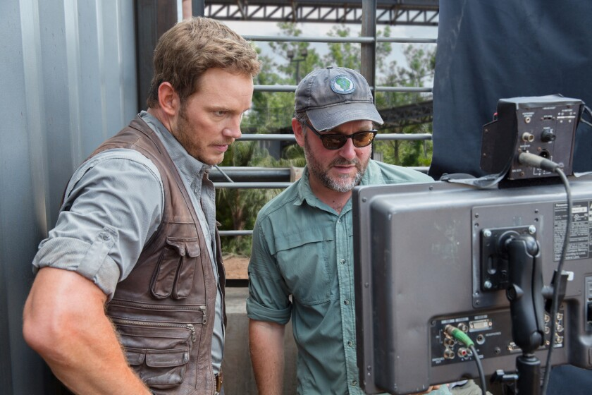 Director Colin Trevorrow, right, and Chris Pratt on the set of 'Jurassic World.'