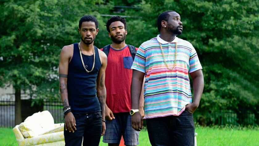 "Keith Standfield, Donald Glover, and Brian Tyree Henry in ""Atlanta."""
