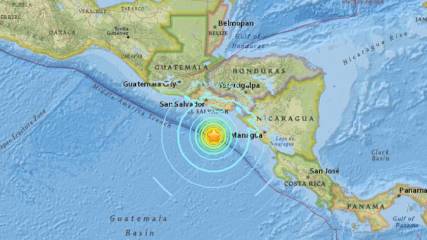 El terremoto ocurrió frente a las costas de El Salvador y Nicaragua.