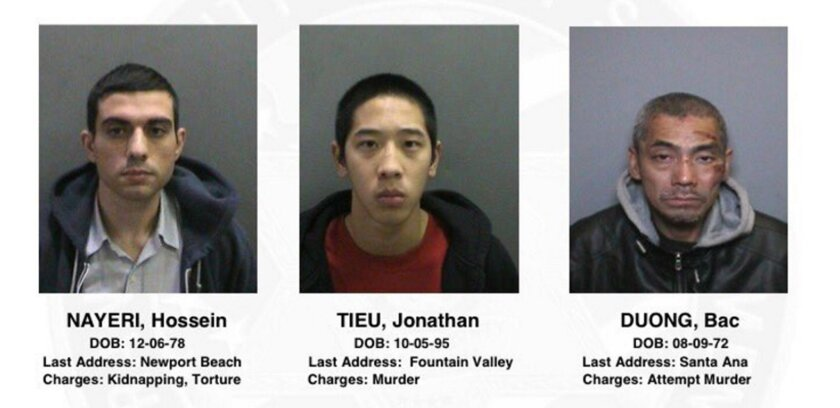 FILE - This file photo provided by the Orange County, Calif., Sheriff's Department on Saturday, Jan. 23, 2016, shows three jail inmates charged with violent crimes who escaped from the Central Men's Jail in Santa Ana, Calif. Court documents say a woman arrested on suspicion of aiding and abetting t