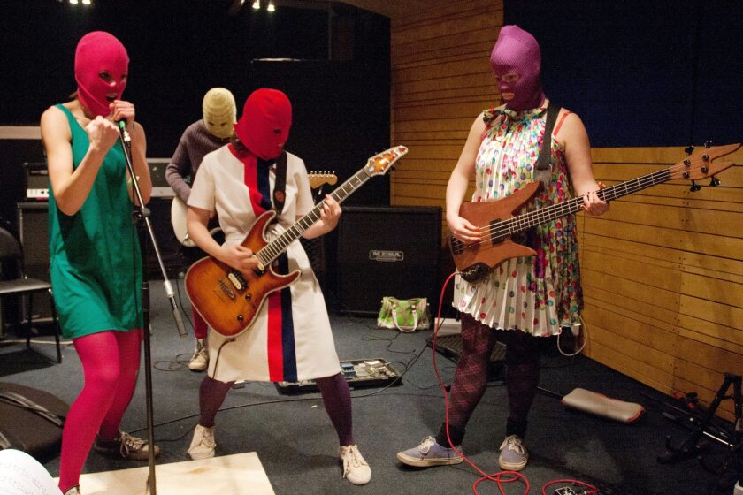 Members of Russian punk group Pussy Riot during a rehearsal in Moscow, February 2012.