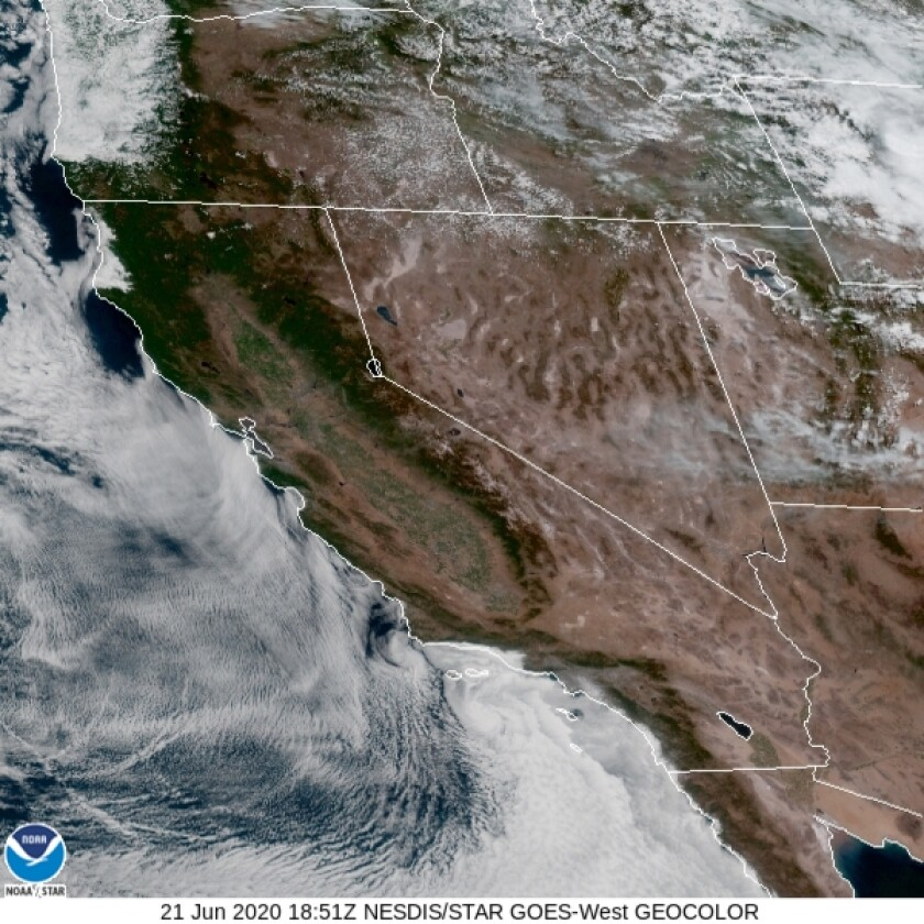 Sunday's marine layer in Southern California