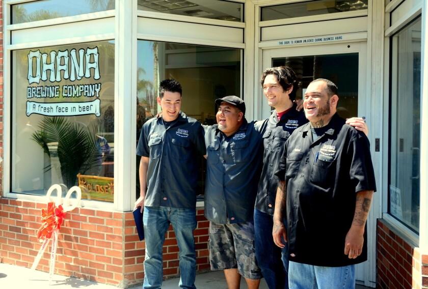 "The Ohana brew crew, from left: Owner Andrew Luthi, Erick ""Riggs"" Villar, Eric McLaughlin, Alex ""Rhino"" Rebollo"