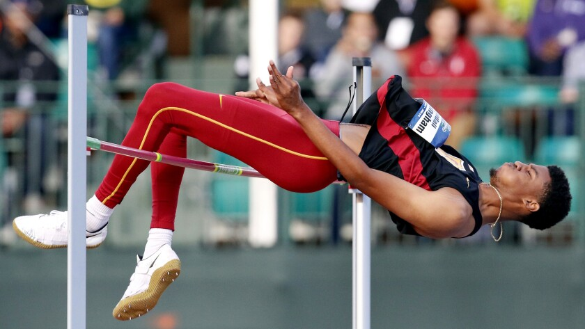 USC's Randall Cunningham set a personal best outdoors by clearing 7-4 1/2 on Friday.