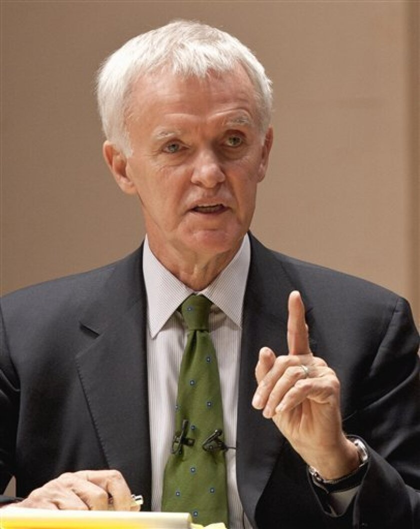 FILE - In this Oct. 9, 2008 file photo, former U.S. Sen. Bob Kerrey speaks during a healthcare debate in Lincoln, Neb. The former one-term Nebraska governor and two-term U.S. senator said Tuesday, Feb. 7, 2012 that he won't seek the Democratic nomination for Nebraska Senate seat he formerly held to replace U.S. Sen. Ben Nelson, D-Neb. (AP Photo/Nati Harnik)