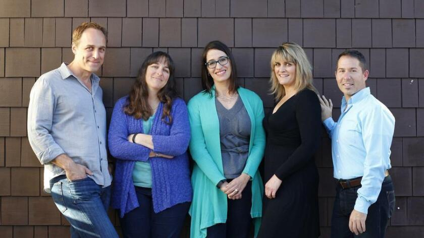 Organizers of the inaugural San Diego Theatre Week, photographed in 2016: Gary Kramer, D. Candis Paule, Mia Fiorella, Susan Clausen and Peter Kalivas (left to right). (Union-Tribune file photo)